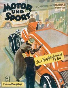 """Internationale Automobil– und Motorrad-Ausstellung Berlin, 8.–18. März 1934.  Titelseite der Zeitschrift """"Motor und Sport"""", Ausgabe A, Pössneck (Vogel-Verlag), Heft 10, 11.3.1934."""