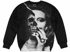 Fusion   Printed sweatshirt (sexy sweater) with skull print SCARY BEAUTY