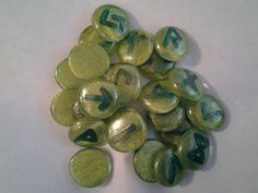 Handcrafted Norse Green Glass Runes Set by SisterCraftings on Etsy