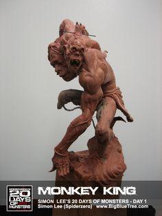 The Art of Simon Lee - Spiderzero - Concept Artist, Creature Designer, Sculptor, teacher Simon Lee, Traditional Sculptures, Art Nouveau, Monkey King, Fantasy Miniatures, Masks Art, Sculpture Clay, Clay Creations, Art Reference