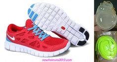 Nike Free Mens Runs 2 Sport Red White Blue Glow Shoes