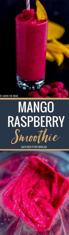 Mango Raspberry Smoothie - How to make this nutritious mango smoothie with berries and tropical flavors. It's the perfect healthy way to go. Delicious and smooth, made without yogurt!