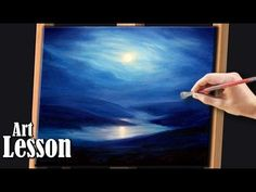 Acrylic Painting Lesson | Moonlight over water landscape - YouTube
