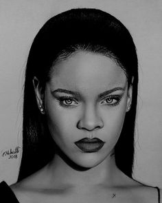 Girl Drawing Sketches, Art Drawings Sketches Simple, Portrait Sketches, Beautiful Drawings, Portrait Art, Rihanna Drawing, Drawings Pinterest, Charcoal Portraits, Sketches Of People