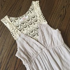 Kanvas Crochet Back Dove Gray Maxi Dress This beautiful dress has only been worn a couple of times and is in great condition. It's very comfortable and soft. Kanvas Dresses Maxi