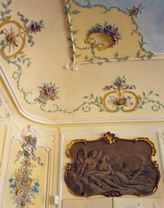 `*ceiling detail - The Rocaille room with Louis XV furniture and armchairs by Pierre Nogaret, Dree Castle or Château de Drée (1610–1720), built by Charles de Blanchefort Crequy, near Curbigny, Burgundy, France.