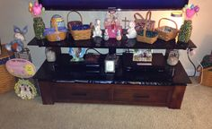 Used my longaberger baskets as little Easter basket with my Easter Decor