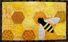 honey bee mug rug | hand pieced, hand appliqued hand quilted… | Flickr