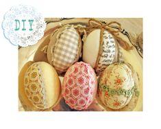 La gatta sul tetto: Decorazioni per Pasqua: uova di polistirolo rivestite di stoffa