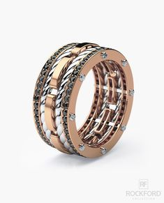 Three bold-looking bands pave set with brilliant cut round black diamonds connected by signature exclusive Rockford screws with rope designs flowing in between the bands, our ROPES men's ring has a ve