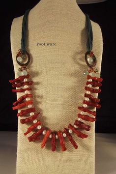 Coral & Pearls Necklace | Lima Beads Customer Gallery  Red coral, freshwater pearl, aqua chalcedony, swarovski crystal, sari silk ribbon, copper  Beautiful!!