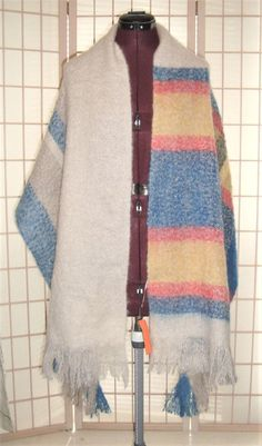 New WT American Eagle Outfitters XL Mohair Wool Plaid Fringed Scarf Wrap #AmericanEagleOutfitters #Scarf