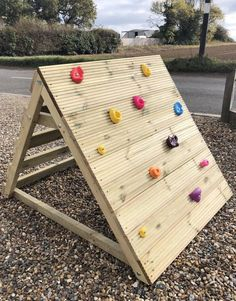 Solid sturdy children's climbing wall/frame made from treated outdoor timber to withstand the elements. Fantastic piece of outdoor play equipment, includes 11 foot grips. Approximately: 150 cm width 110cm height 120cm depth These can be made to your specific requirements please get in touch for a Kids Outdoor Play, Kids Play Area, Backyard For Kids, Outdoor Fun, Outdoor Tables, Outdoor Decor, Kids Play Equipment, Outdoor Play Equipment, Toddler Climbing Toys