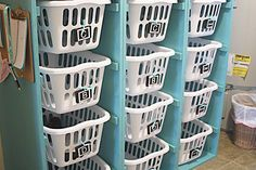 Check out this laundry dresser that's a great solution for laundry room organization. This laundry basket dresser is an easy, inexpensive DIY project.