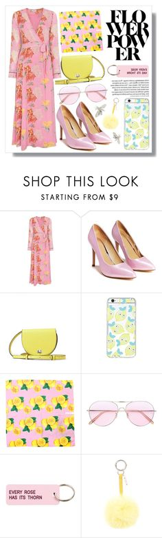 """""""FLOWER POWER"""" by dindatanrere ❤ liked on Polyvore featuring Ganni, Nasty Gal, Steve Madden, Forever 21, Oliver Peoples, Various Projects, Fendi and title of work"""