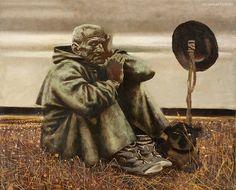 Старик с собакой Soviet Art, Illustrators, Fantasy, Statue, Texture, Art Prints, Contemporary, Cool Stuff, Painting