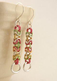 6 Christmas Byzantine Earrings Kits - Economical Anodized Aluminum Chainmaille. $18.00, via Etsy.