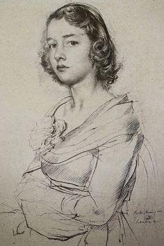 Pietro Annigoni (Italian, 1910-1988), young female portrait drawing #arthistory
