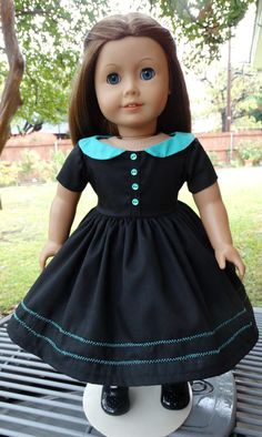 This dress had been made to fit 18 dolls such as American Girl, Battat, Madame Alexander and more. This little black dress is anything but