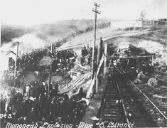 At 10:20 a.m., December 6, 1907, explosions occurred at the No. 6 and No. 8 mines at Monongah, West Virginia. The explosions ripped through the mines at 10:28 a.m., causing the earth to shake as far as eight miles away, shattering buildings and pavement, hurling people and horses violently to the ground, and knocking streetcars off their rails. Three-hundred and sixty-two men and boys died. It remains the worst mine disaster in the history of the United States.
