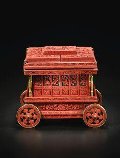 Rarechariot Impérial en laque rouge sculpté Chine, dynastie Qing, époque Qianlong (1736-1795) - Sotheby's