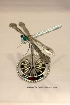 """Dragonfly (4)"" ~ Original junk art created by Laurie Schnurer in 2014."