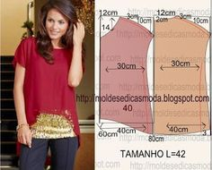 Easy T-shirt pattern with wider sides to accommodate extended sleeves in the one line (Pattern only. You need to have a working knowledge of pattern fitting and dress making as no other instructions are provided,) Fatima Lopes Carvalho - Google+