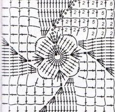 9 асимметричных узоров на квадратах из филейной сетки | motifs | Pinterest | Charts and Crochet