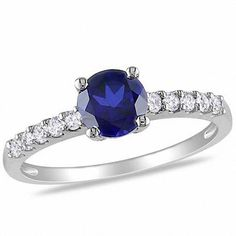 #Valentines #AdoreWe #Zales - #Zales 6.0mm Lab-Created Blue Sapphire and 1/4 CT. T.w. Diamond Engagement Ring in 10K White Gold - AdoreWe.com