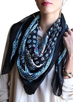Women's Delicate Ditsy Black & Blue Floral Bandana Square Scarf at Amazon Women's Clothing store: Fashion Scarves