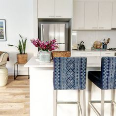 Clicking through the hashtag might be our favorite distraction. Love this image from Home Decor Kitchen, Kitchen Design, Kitchen Ideas, Stool Covers, White Apartment, Home Decor Furniture, Indigo Furniture, Cabinet Decor, Small Spaces