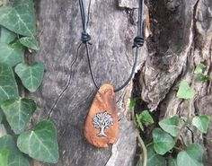 Olive wood pendant with inlaid silver tree of by ellenisworkshop