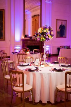 Lovely purple centerpiece // photo by Kaysha Weiner, see more: http://theeverylastdetail.com/2013/08/30/purple-american-history-inspired-wedding/