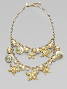 Kate Spade New York  Shell, Bead and Faux Pearl Bib Necklace