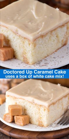 This easy doctored up caramel cake starts with a box of cake mix but no one would know it! The caramel cake turns out so moist and flavorful and the caramel icing is dreamy! Food Cakes, Bundt Cakes, Easy Cake Recipes, Dessert Recipes, Spice Cake Mix Recipes, Easy Birthday Cake Recipes, Caramel Icing, Carmel Cake Icing, Fancy Desserts