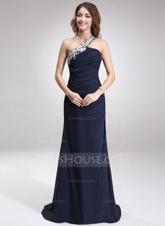 Evening Dresses - $146.99 - A-Line/Princess Sweep Train Chiffon Evening Dress With Beading Appliques (017016875) http://jjshouse.com/A-Line-Princess-Sweep-Train-Chiffon-Evening-Dress-With-Beading-Appliques-017016875-g16875?snsref=pt&utm_content=pt