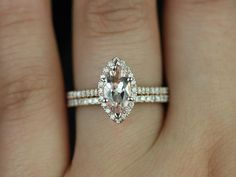 Sasha 14kt Rose Gold Marquise Morganite and Diamond Halo Wedding Set (Other Center Stone Available Upon Request)