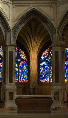 Saint-Séverin Church. Paris, France dating from the 15th century - this is modern stained glass by artist Jean Bazaine.