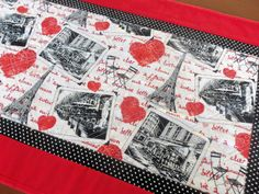 Valentine's Day Quilted Paris Table Runner by homesewnbychristine