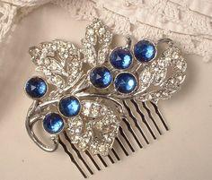 1920s - 1930s Art Deco Sapphire Blue & Clear Rhinestone Floral Spray Bridal Hair Comb, TRUE Vintage Heirloom Fur Clip to OOAK Comb GATSBY