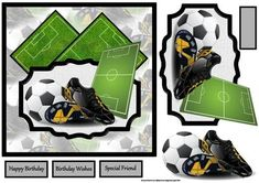 A Game of football card with decoupage on Craftsuprint designed by Angela Wake - A Game of football card with decoupage and sentiment tags.