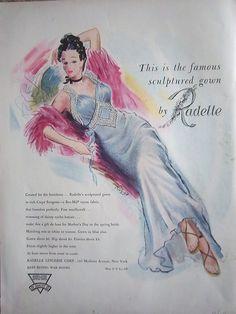 1944 Vintage Womens RADELLE Sculptured Gown Lingerie Ad