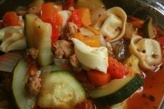 Italian Sausage tortellini soup by J.H. (Sweet Italian sausage would be my choice to use in this)