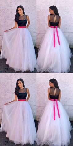 Elegant Prom Dresses, A-Line Jewel Sweep Train White Tulle Prom Dress with Sash Shop for La Femme prom dresses. Elegant long designer gowns, sexy cocktail dresses, short semi-formal dresses, and party dresses. Pageant Dresses For Teens, Formal Dresses For Women, Prom Dresses, Teen Party Dresses, Graduation Dresses, Long Dresses, Elegant Bridesmaid Dresses, Simple Dresses, Beautiful Dresses