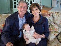 Jenna's parents, George W. Bush and Barbara Bush cuddle up with their new grandchild Mila.