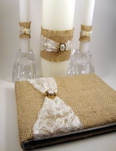Rustic Burlap and Lace Wedding Guest Book and Wedding Unity Candle Wraps. $58.00, via Etsy.