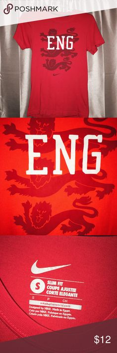 Nike England Soccer Tee - Purchased in UK EUC- worn twice by my son. Purchased on a trip to England. No flaws, stains or holes. It's a men's small, but fits more like a boys 16. ⚽️⚽️⚽️ ✋️Smoke free home!  Same or next Day Shipping from TN (excludes weekends & Holidays) Nike Shirts & Tops Tees - Short Sleeve
