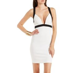 Charlotte Russe Ivory Combo Cross-Back Color Block Bodycon Dress by... ($29) ❤ liked on Polyvore featuring dresses, ivory combo, color block bodycon dress, ivory dress, colorblock bodycon dress, charlotte russe dresses and white cocktail dresses
