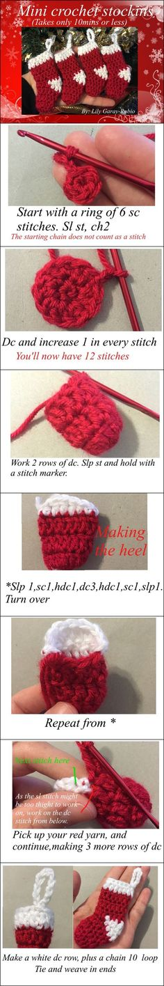 Mini Christmas Stockings Crochet Pattern.
