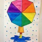 color wheel umbrellas with fingerprint rain Farbrad Regenschirme mit Fingerabdruck regen Color Wheel Projects, Art Projects, Art Education Projects, Color Wheel Art, First Grade Art, Color Secundario, Colour Chart, Umbrella Art, Umbrella Painting